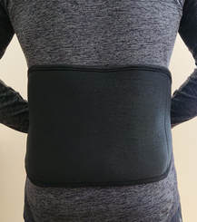 Back and body belt around man's low back. Back view.